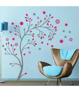Muursticker mooi boompje grijs roze