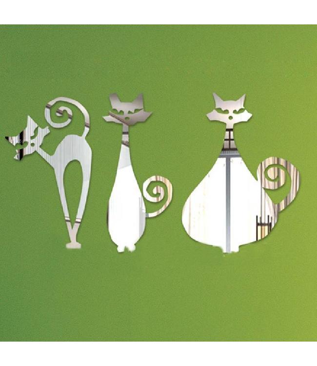 Muursticker drie artistieke katten