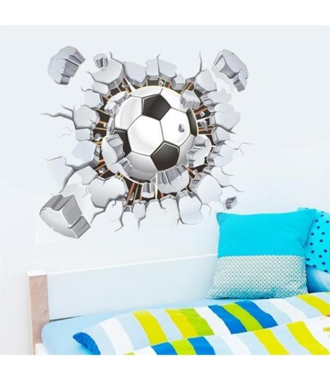 Muursticker voetbal door de muur