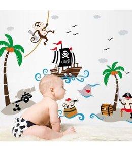 Muursticker piraten aapjes op schattenjacht