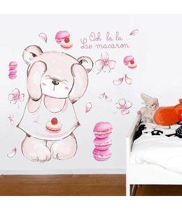 Muursticker grote roze beer