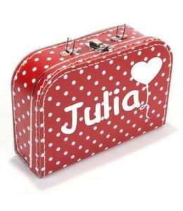 Kinderkoffertje met naam en hartjesballon