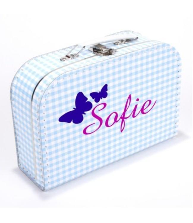 Kinderkoffertje met naam vlinder