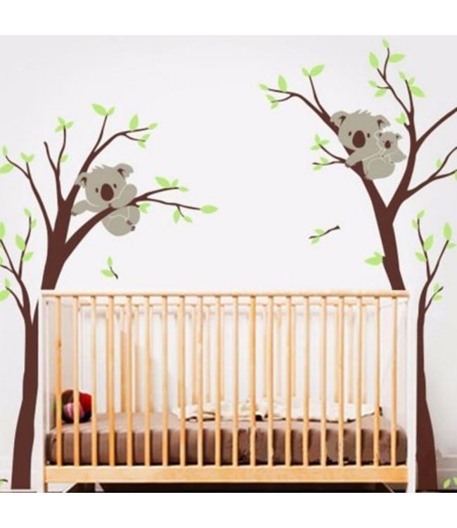 Muursticker bomen met koala beertjes