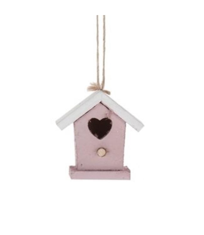 Hanger vogelhuisje roze wit