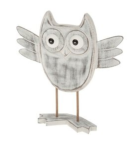 Houten deco uil grey wash
