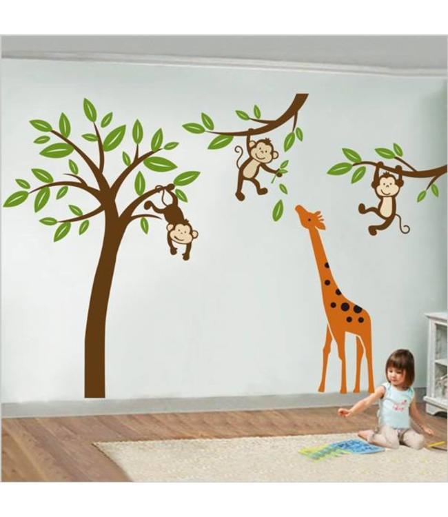 Kinderkamer Muursticker Boom.Muursticker Boom En Takken Met Aapjes En Giraffe Kinderkamer