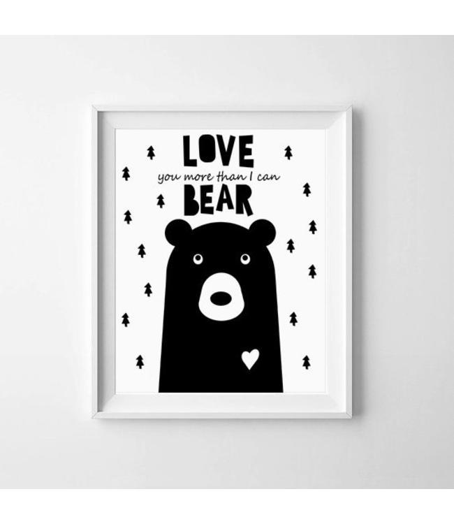 Kinderposter love beer met lijst A4