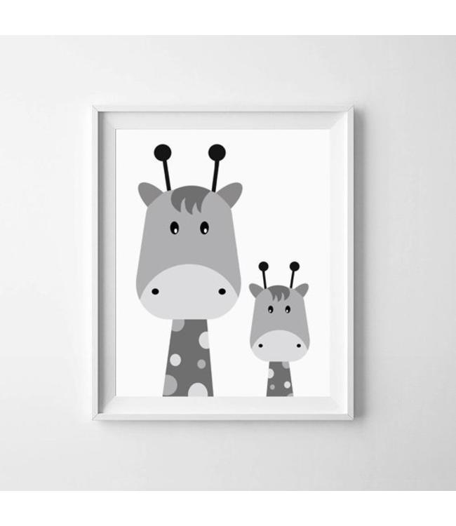 Kinderposter twee giraffejes met lijst A4