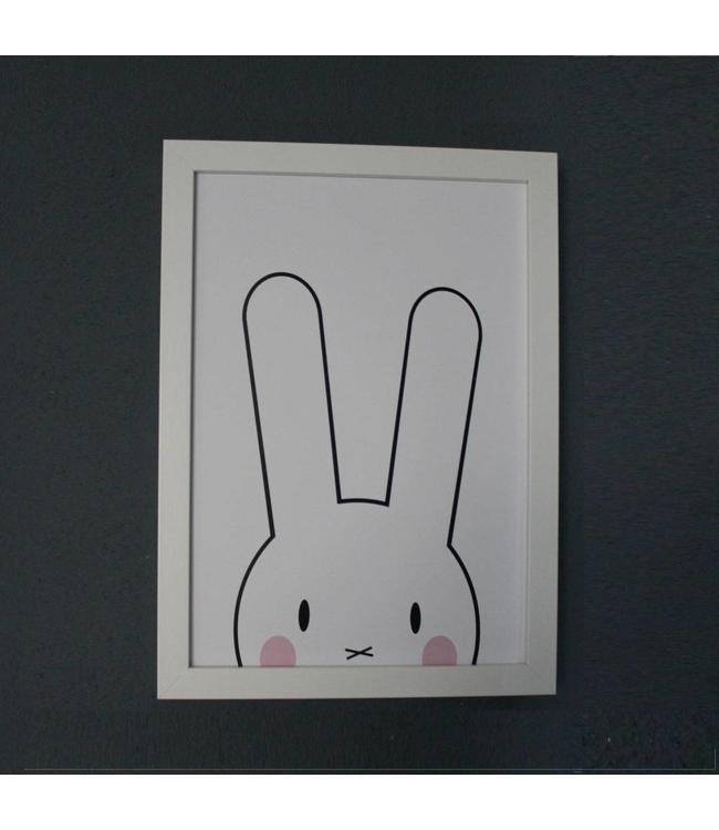 Kinderposter lief konijntje met roze wangetjes met lijst A4