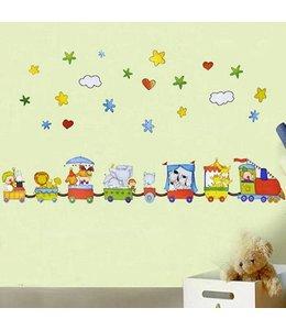 Muursticker trein met diertjes