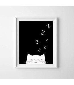 Kinderposter slapend katje A3