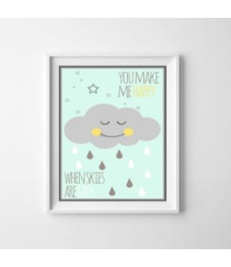 Kinderposter happy cloud mint A3