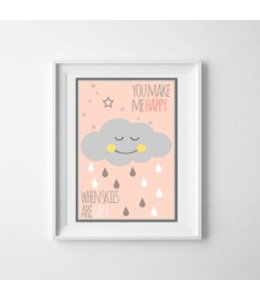 Kinderposter happy cloud roze