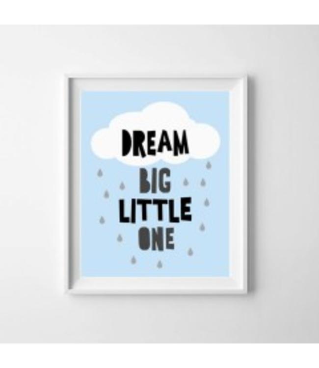 Kinderposter dream big blauw