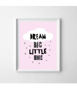 Kinderposter dream big roze A3