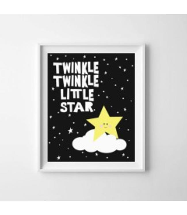 Kinderposter twinkle twinkle little star met lijst A4