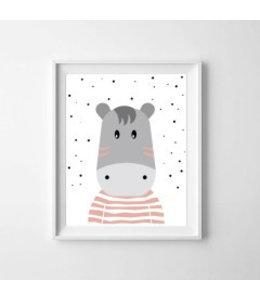 Kinderposter nijlpaardje kleur met lijst A4