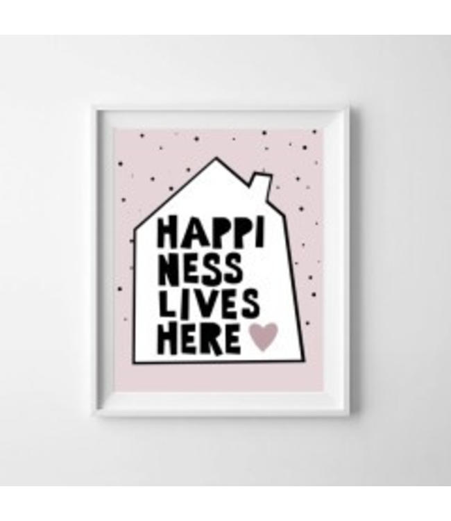 Kinderposter happiness lives here met lijst A4
