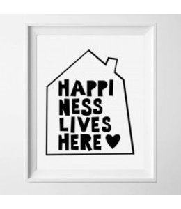 Kinderposter happiness lives here 2 met lijst A4