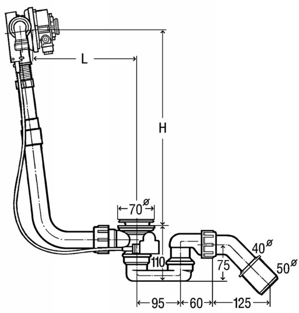 Viega Ab-/Überlaufgarnitur Multiplex Trio 560mm Länge, mit GV ...