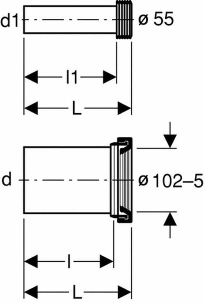 Geberit Wand-WC-Anschlussgarnitur PE d:110mm Länge:185mm ...