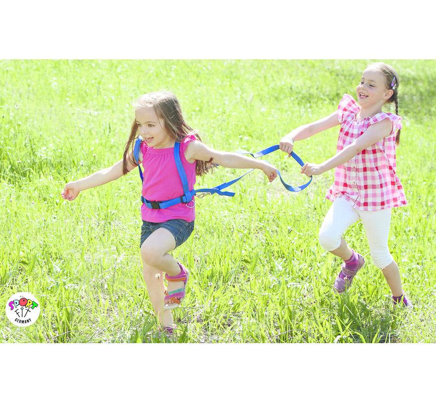 Paardentuigje geschikt voor 2 kinderen Blauw