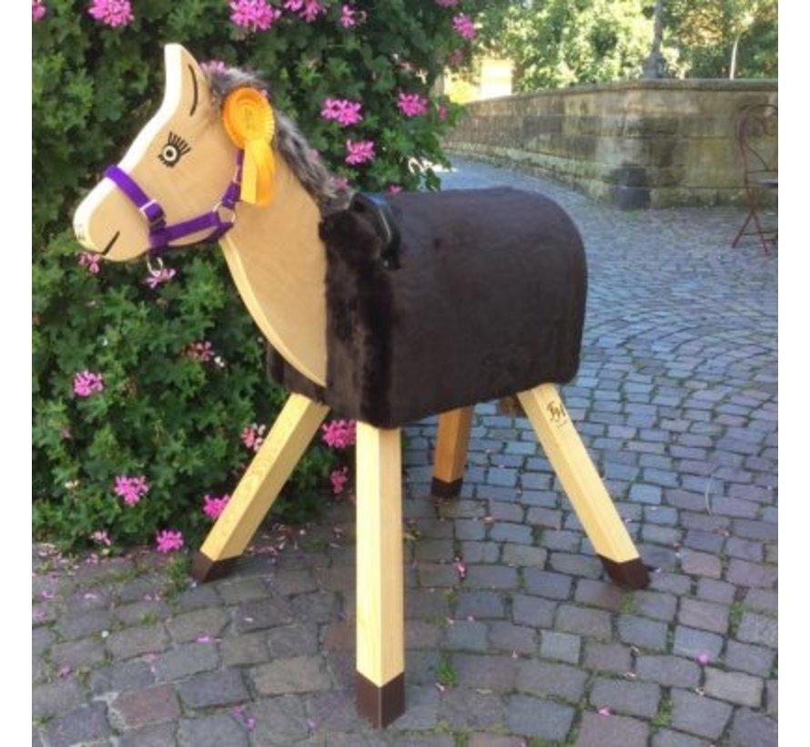 Houten paard Woolly met donkerbruine vacht