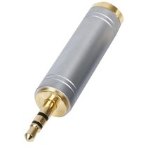 Stereo-Audio-Adapter 3.5 mm Male - 6.35 mm Female Zilver