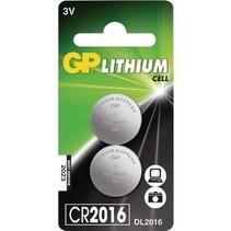 CR2016 Knoopcel batterijen 2 Stuks  GP