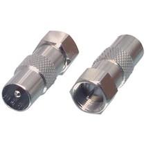 Coax-Adapter F F-Male - Coax Male (IEC) Zilver
