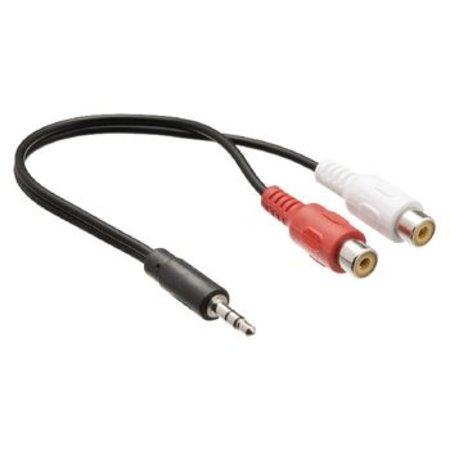Valueline Stereo Audiokabel 3.5 mm Male - 2x RCA Female 0.5 m Zwart