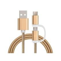 2 in 1 oplaad kabel (USB Micro, USB Type-C) - 1 Meter (Goud-Nylon)