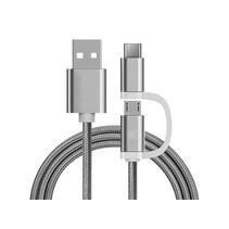 2 in 1 oplaad kabel (USB Micro, USB Type-C) - 1 Meter (Zilver-Nylon)