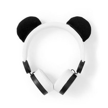 Bedrade Koptelefoon | 1,2 m Ronde Kabel | On-Ear | Afneembare Magnetische Oren | Patty Panda | Wit