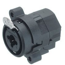 XLR Panel-mount female receptacle 3 N/A NCJ Verticaal / PCB Mounting Zwart