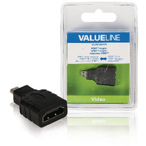 High Speed HDMI met Ethernet Adapter HDMI Micro-Connector Male - HDMI Female Zwart