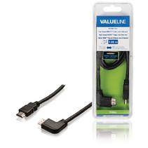 High Speed HDMI kabel met Ethernet HDMI-Connector - HDMI-Connector Haaks Links 1.00 m Zwart