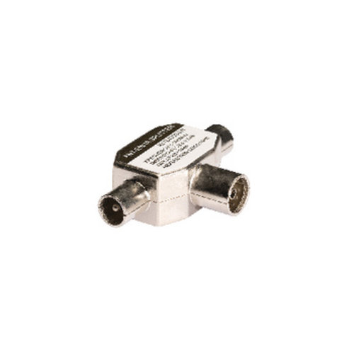 König Coax-Adapter 2x Coaxconnector Male (IEC) - Coax Female (IEC) Wit
