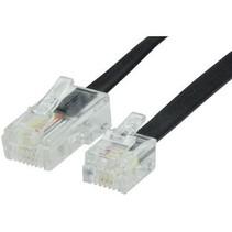 Telecomkabel RJ12 (6P6C) Male - RJ45 (8P6C) Male 5.00 m Zwart