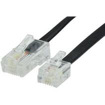 Telecomkabel RJ12 (6P6C) Male - RJ45 (8P6C) Male 1.00 m Zwart