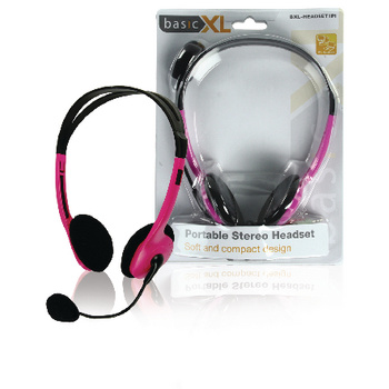 basicXL Headset On-Ear 2x 3.5 mm Ingebouwde Microfoon 2.0 m Roze