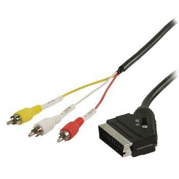 Valueline SCART Kabel SCART Male - 3x RCA Male 2.00 m Zwart