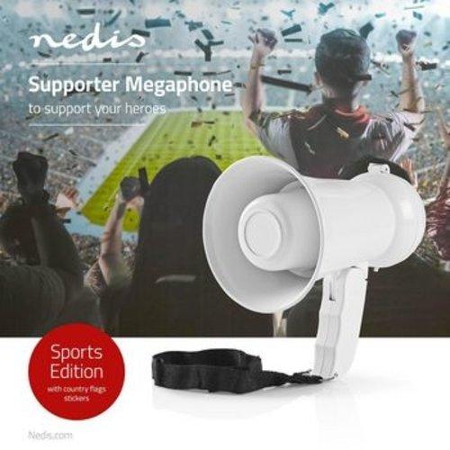 Nedis Supportersmegafoon | 100 dB | 100 m Bereik | Landenstickers | Wit