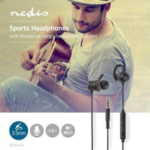 Nedis Sportkoptelefoon | Bekabeld | In het oor | 1,2 m kabel | Zwart