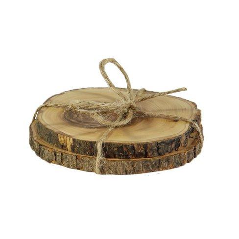 Desert Rose Luxurious set olive wood coasters, set of 2 - diameter from 7,5 cm