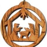 Desert Rose Ornament - holy family in stable