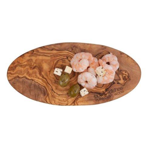 Pure olivewood Hapjesplankplank ovaal 25cm