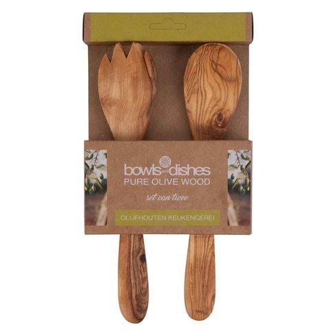 Pure olivewood Olijfhouten slacouvert 2 delig 25cm