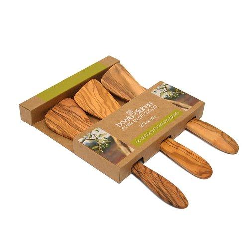 Pure olivewood Olijfhouten spatelset 3 delig 25cm gebogen
